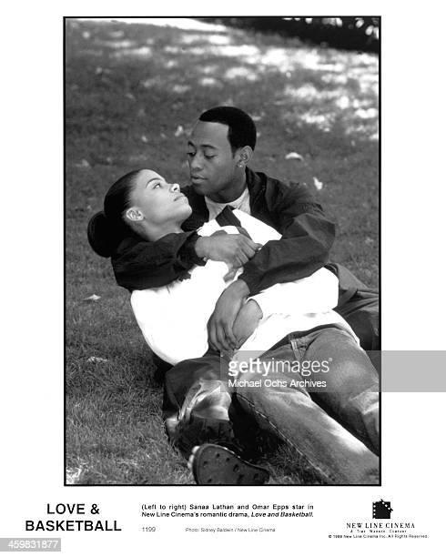 Actor Omar Epps and actress Sanaa Lathan on set of the New Line Cinema movie ' Love Basketball ' circa 2000