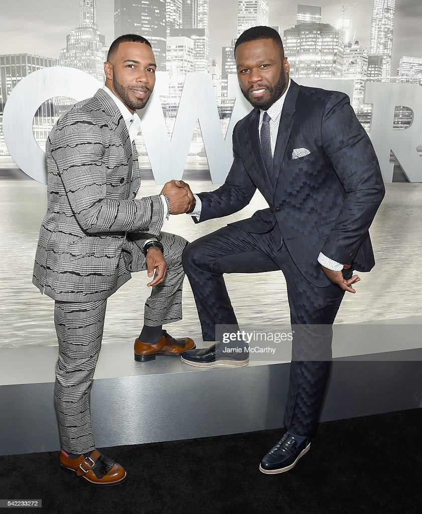 Actor Omari Hardwick and executive producer Curtis Jackson attend the STARZ 'Power' New York season three premiere at SVA Theatre on June 22 2016 in...