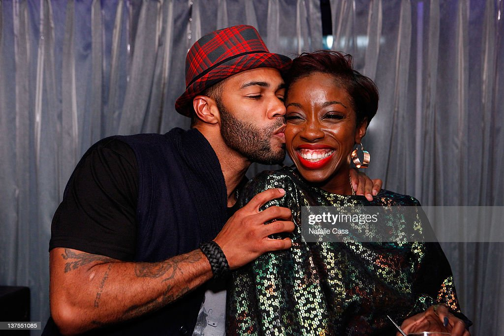 Actor Omari Hardwick and singer Estelle attend VIBE Party benefiting Children's Miracle Network Hospitals at The Sky Lodge on January 21 2012 in Park...