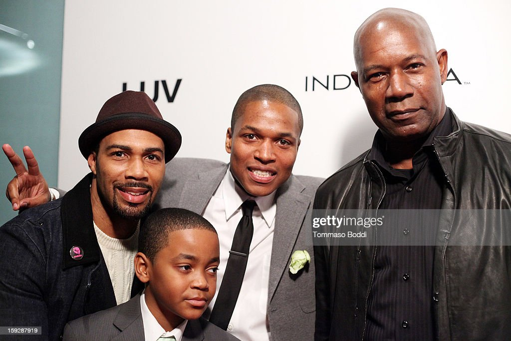 actor Omari Hardwick, director Sheldon Candis, actor Dennis Haysbert and actor Michael Rainey Jr.attend the 'LUV' Los Angeles premiere held at the Pacific Design Center on January 10, 2013 in West Hollywood, California.