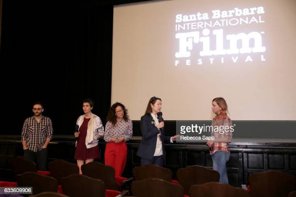 Actor Omid Abtahi Actress Azadeh Khatibi Acrtress Sandra Oh Director Ann Marie Fleming and moderator Audrey Arn speaks onstage during a screening of...