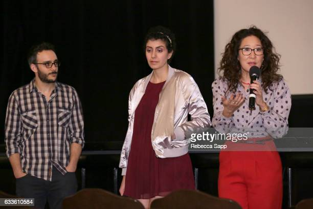 Actor Omid Abtahi Actress Azadeh Khatibi and Acrtress Sandra Oh speak onstage during a screening of 'Window Horses' during the 32nd Santa Barbara...