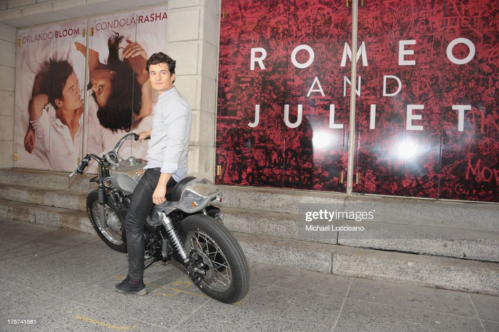 Actor <a gi-track='captionPersonalityLinkClicked' href=/galleries/search?phrase=Orlando+Bloom&family=editorial&specificpeople=202520 ng-click='$event.stopPropagation()'>Orlando Bloom</a> appears for the 'Romeo And Juliet' Broadway photo call at Richard Rodgers Theatre on August 7, 2013 in New York City.