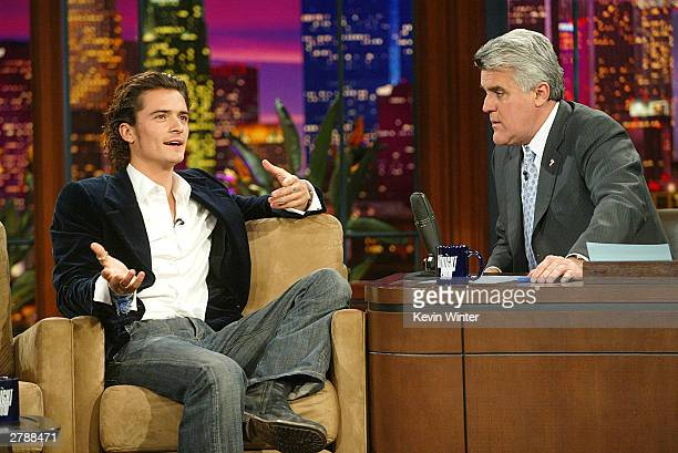 Actor Orlando Bloom appears on 'The Tonight Show with Jay Leno' at the NBC Studios on December 5 2003 in Burbank California