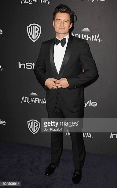 Actor Orlando Bloom arrives at the 2016 InStyle And Warner Bros 73rd Annual Golden Globe Awards PostParty at The Beverly Hilton Hotel on January 10...