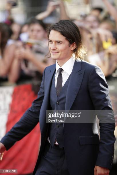 Actor Orlando Bloom arrives at the European premiere of 'Pirates Of The Caribbean Dead Man's Chest' at Odeon Leicester Square on July 3 2006 in...