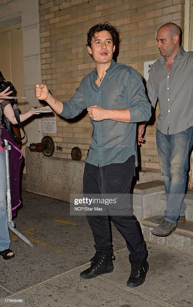Actor <a gi-track='captionPersonalityLinkClicked' href=/galleries/search?phrase=Orlando+Bloom&family=editorial&specificpeople=202520 ng-click='$event.stopPropagation()'>Orlando Bloom</a> is seen on August 24, 2013 in New York City.