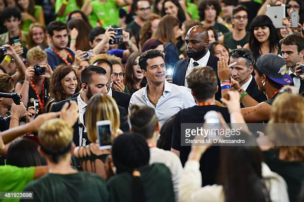 Actor Orlando Bloom participates to the meeting with the jurors during Giffoni Film Festival 2015 Day 9 on July 25 2015 in Giffoni Valle Piana Italy