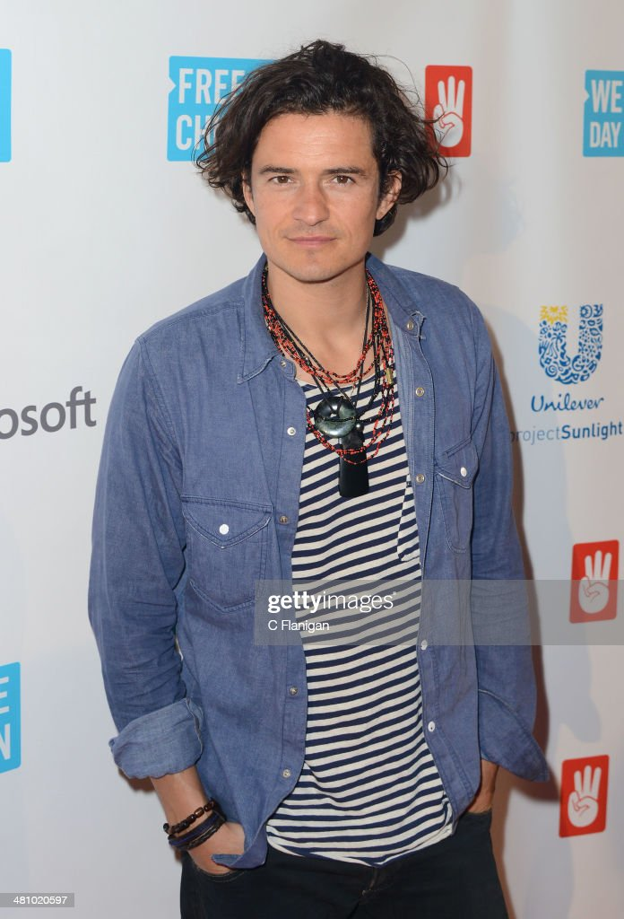 Actor <a gi-track='captionPersonalityLinkClicked' href=/galleries/search?phrase=Orlando+Bloom&family=editorial&specificpeople=202520 ng-click='$event.stopPropagation()'>Orlando Bloom</a> poses backstage during the 1st Annual 'We Day' California at ORACLE Arena on March 26, 2014 in Oakland, California.