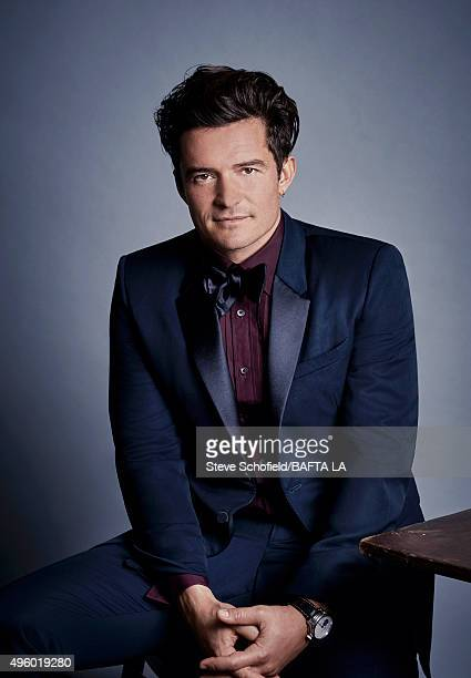 Actor Orlando Bloom poses for a portrait at the 2015 BAFTA Britannia Awards Portraits on October 30 2015 at the Beverly Hilton Hotel in Beverly Hills...