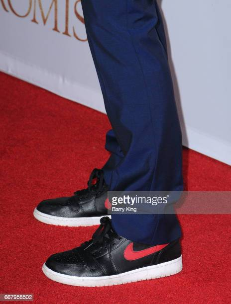 Actor Orlando Bloom shoe detail attends premiere of Open Road Films' 'The Promise' at TCL Chinese Theatre on April 12 2017 in Hollywood California