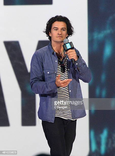 Actor Orlando Bloom speaks onstage during the 1st Annual 'We Day' California at ORACLE Arena on March 26 2014 in Oakland California
