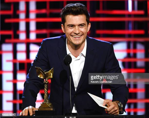 Actor Orlando Bloom speaks onstage during the 2017 Film Independent Spirit Awards at the Santa Monica Pier on February 25 2017 in Santa Monica...