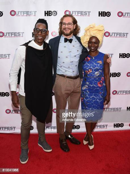 Actor Orlando Jones writer Bryan Fuller and actress Yetide Badaki arrive at the 2017 Outfest Los Angeles LGBT Film Festival Opening Night Gala of...