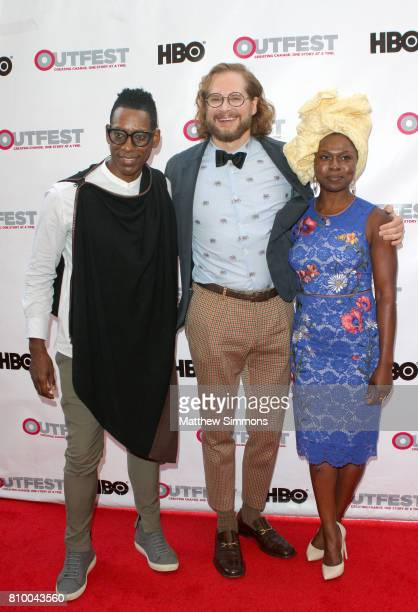 Actor Orlando Jones writer/producer Bryan Fuller and actress Yetide Badaki attend the opening night gala of 'God's Own Country' at the 2017 Outfest...