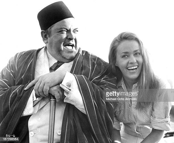 Actor Orson Welles and actress Jeanne Moreau on set of the movie 'The Sailor from Gibraltar' in 1967