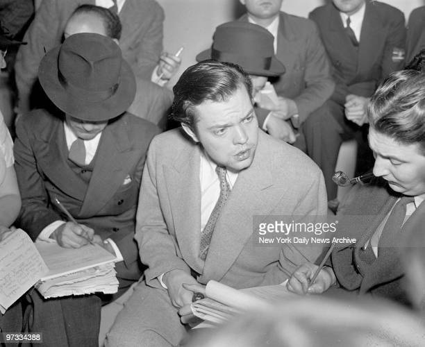 Actor Orson Welles being interviewed after his 'War of the Worlds' broadcast