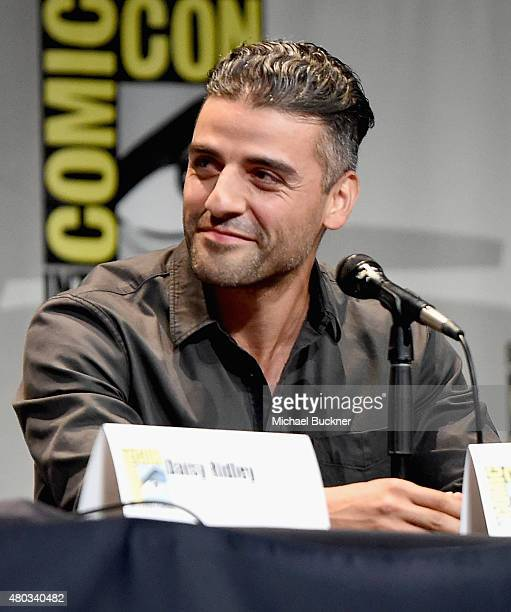 "Actor Oscar Isaac at the Hall H Panel for ""Star Wars The Force Awakens"" during ComicCon International 2015 at the San Diego Convention Center on July..."