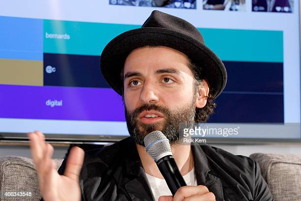 Actor Oscar Isaac speaks onstage at What's Trending Live in the Samsung Blogger Lounge during SXSW 2015 on March 14 2015 in Austin Texas