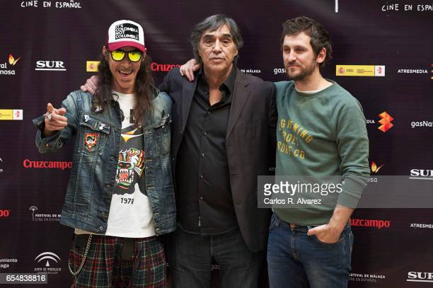 Actor Oscar Jaenada director Agustin Diaz Yanes and actor Raul Arevalo attend 'Oro' photocall during the 20th Malaga Film Festival on March 18 2017...