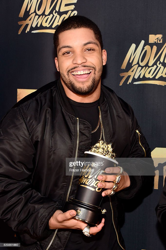 Actor O'Shea Jackson Jr. backstage after accepting the award for True Story for 'Straight Outta Compton' during the 2016 MTV Movie Awards at Warner Bros. Studios on April 9, 2016 in Burbank, California. MTV Movie Awards airs April 10, 2016 at 8pm ET/PT.