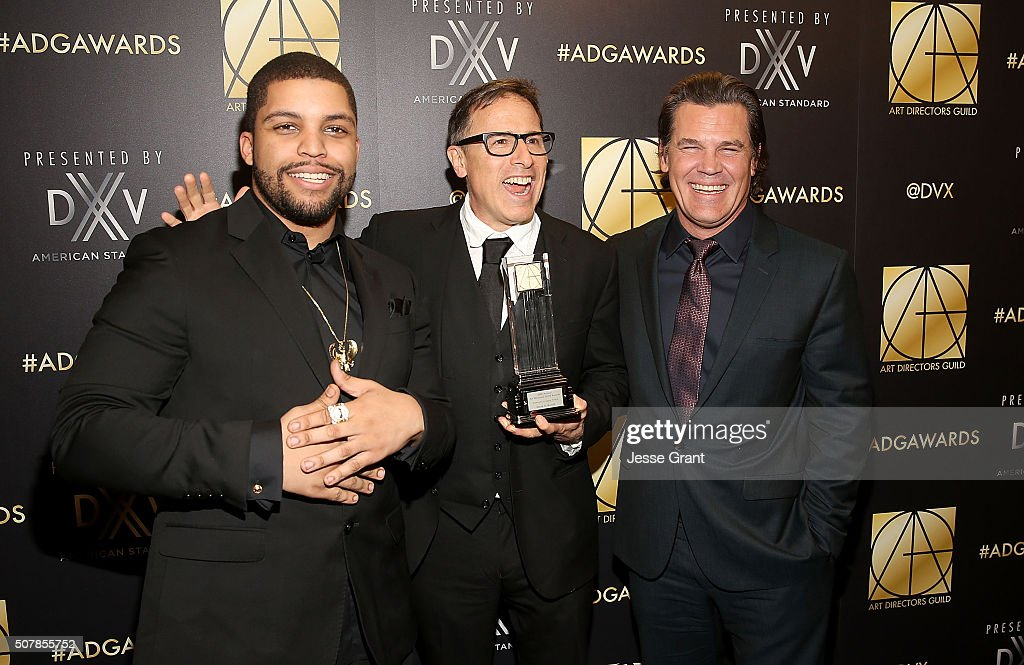 Actor O'Shea Jackson Jr director David O Russell and actor Josh Brolin attend the Art Directors Guild 20th Annual Excellence In Production Awards at...