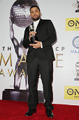 Actor O'Shea Jackson Jr winner of the Outstanding Supporting Actor In A Motion Picture award for 'Straight Outta Compton' poses in the press room...
