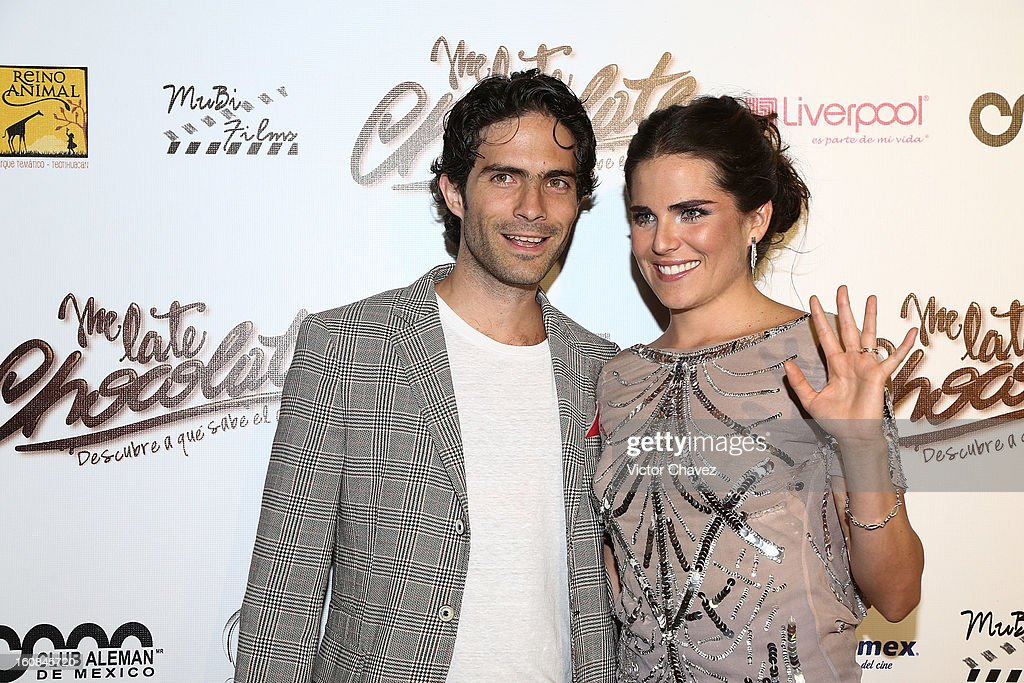 Actor Osvaldo Benavides and actress <a gi-track='captionPersonalityLinkClicked' href=/galleries/search?phrase=Karla+Souza&family=editorial&specificpeople=6147755 ng-click='$event.stopPropagation()'>Karla Souza</a> attend the 'Me Late Chocolate' Mexico City premiere at Cinemex WTC on February 6, 2013 in Mexico City, Mexico.