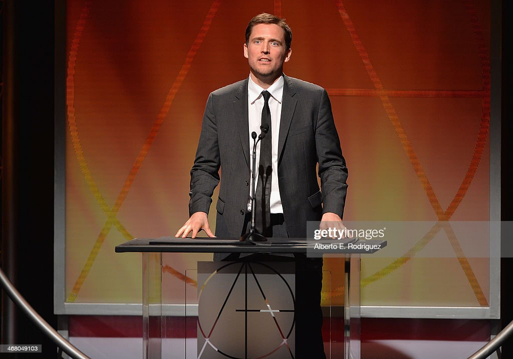 Actor Owen Benjamin speaks on stage atthe 18th Annual Art Directors Guild Exellence In Production Design Awards at The Beverly Hilton Hotel on February 8, 2014 in Beverly Hills, California.