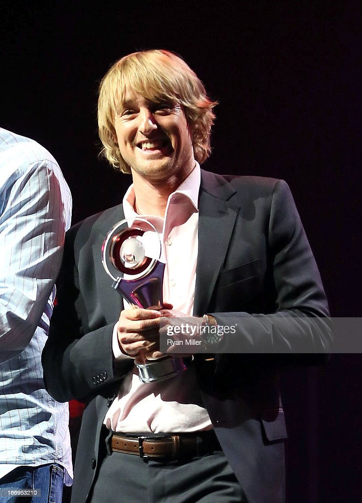 Actor <a gi-track='captionPersonalityLinkClicked' href=/galleries/search?phrase=Owen+Wilson&family=editorial&specificpeople=202027 ng-click='$event.stopPropagation()'>Owen Wilson</a>, co-recipient of the Comedy Duo of the Year award, speaks onstage during the CinemaCon 2013 Final Night Awards at Caesars Palace during CinemaCon, the official convention of the National Association of Theatre Owners on April 18, 2013 in Las Vegas, Nevada.