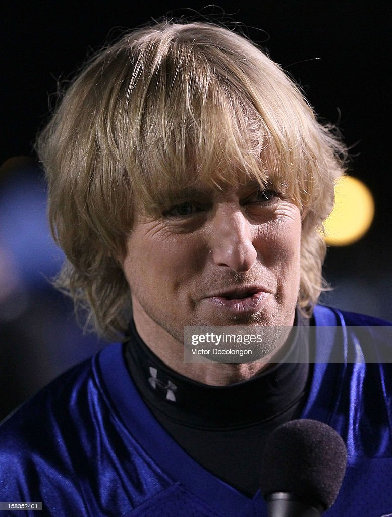Actor Owen Wilson does an interview on the sidelines during the Got Your 6 And Pat Tillman Foundation benefit game on December 13, 2012 in Norwalk, California.