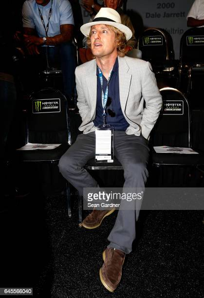 Actor Owen Wilson grand marshal for the 59th Annual DAYTONA 500 attends the drivers meeting prior to the 59th Annual DAYTONA 500 at Daytona...