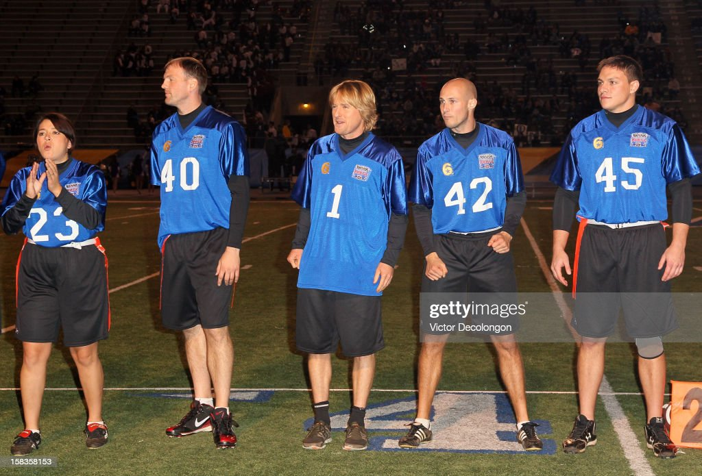 Actor Owen Wilson of Team Liberty (C) stands with his teammates prior to the Got Your 6 and Pat Tillman Foundation benefit game on December 13, 2012 in Norwalk, California.