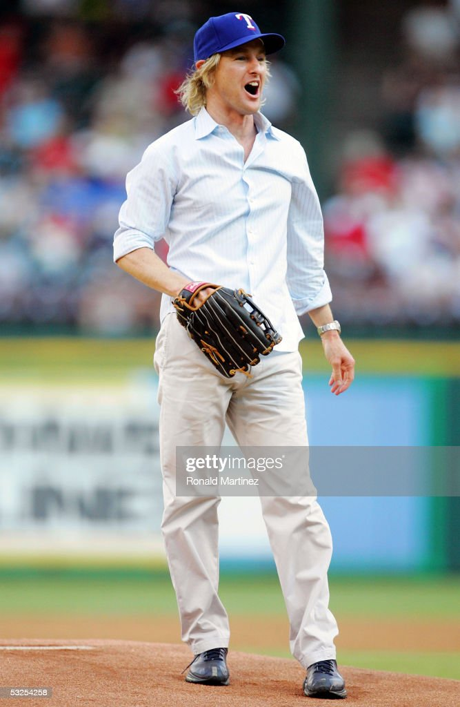 Actor Owen Wilson throws out the ceremonial first pitch before a game between the New York Yankees and the Texas Rangers on July 18 2005 at...