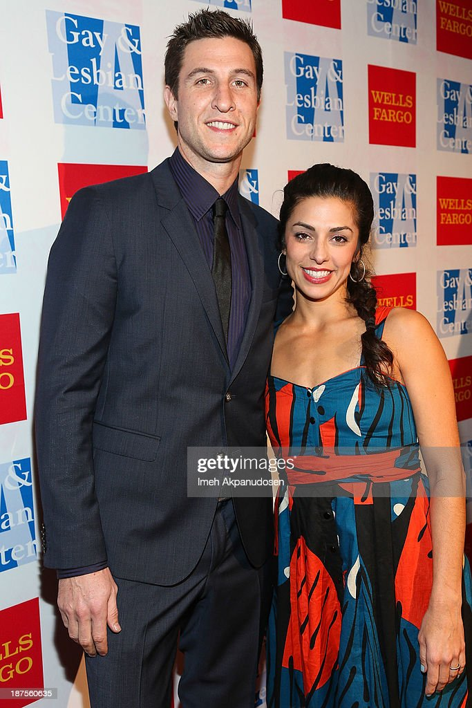 Actor <a gi-track='captionPersonalityLinkClicked' href=/galleries/search?phrase=Pablo+Schreiber&family=editorial&specificpeople=683536 ng-click='$event.stopPropagation()'>Pablo Schreiber</a> (L) and his wife, Jessica Monty, attend the L.A. Gay & Lesbian Center's 42nd Anniversary Vanguard Awards Gala at Westin Bonaventure Hotel on November 9, 2013 in Los Angeles, California.