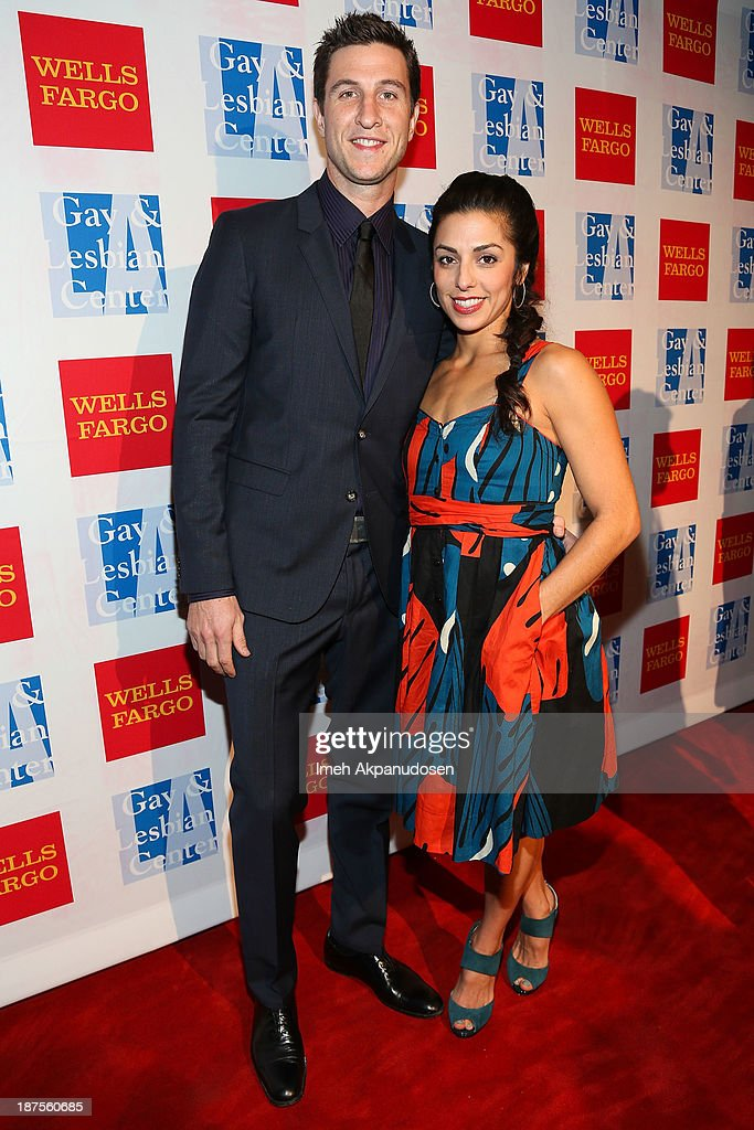 Actor Pablo Schreiber (L) and his wife, Jessica Monty, attend the L.A. Gay & Lesbian Center's 42nd Anniversary Vanguard Awards Gala at Westin Bonaventure Hotel on November 9, 2013 in Los Angeles, California.