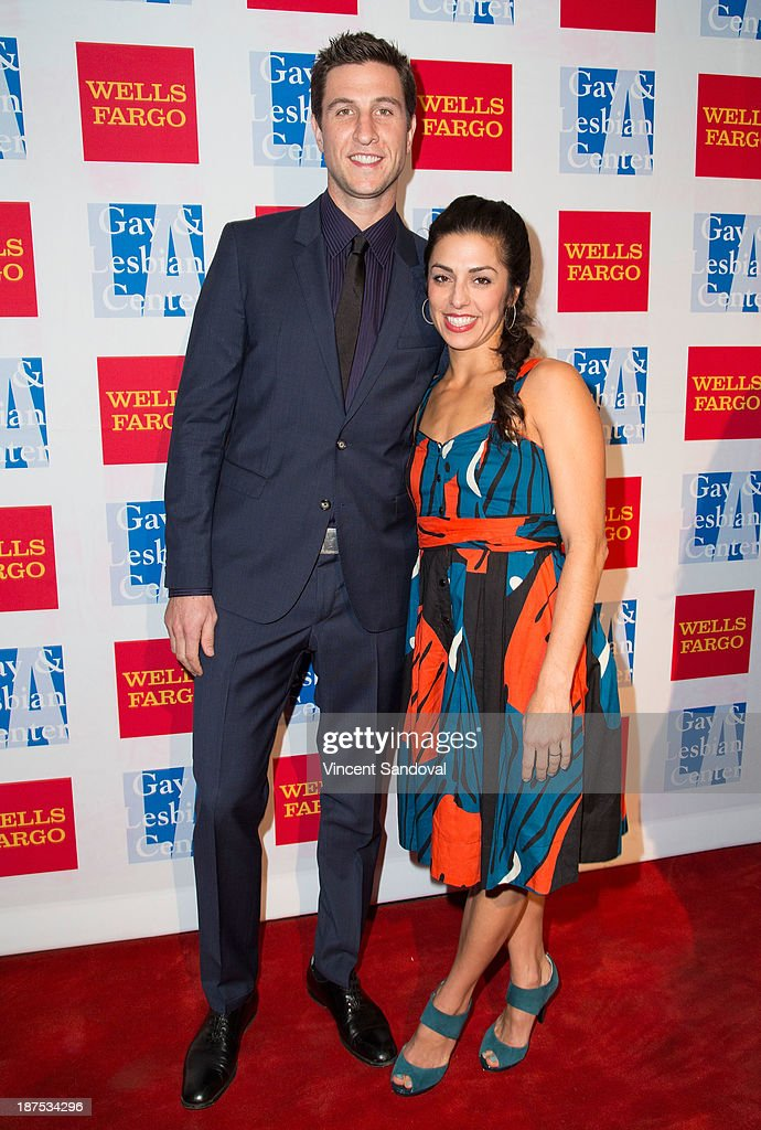 Actor Pablo Schreiber (L) and wife Jessica Monty attend the L.A. Gay & Lesbian Center's 42nd Anniversary Vanguard Awards Gala at Westin Bonaventure Hotel on November 9, 2013 in Los Angeles, California.