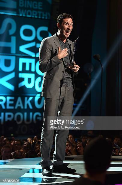 Actor Pablo Schreiber speaks onstage at the 2014 Young Hollywood Awards brought to you by Samsung Galaxy at The Wiltern on July 27 2014 in Los...