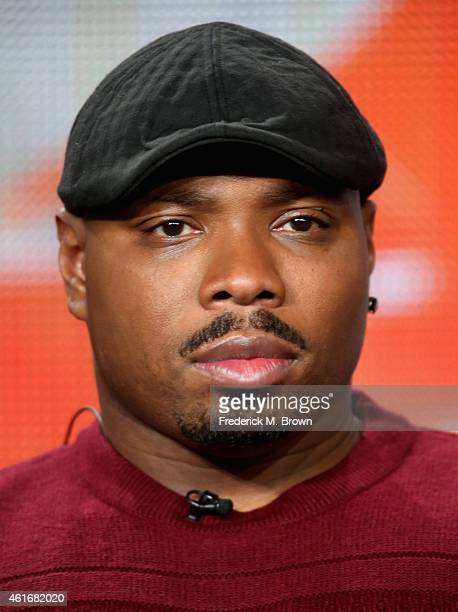 Actor Page Kennedy speaks onstage during the 'Backstrom' panel discussion at the FOX portion of the 2015 Winter TCA Tour at the Langham Hotel on...