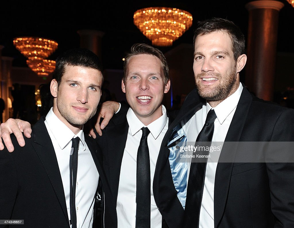 Actor Parker Young, writer/producer Kevin Biegel and actor Geoff Stults attend the 16th Costume Designers Guild Awards with presenting sponsor Lacoste at The Beverly Hilton Hotel on February 22, 2014 in Beverly Hills, California.