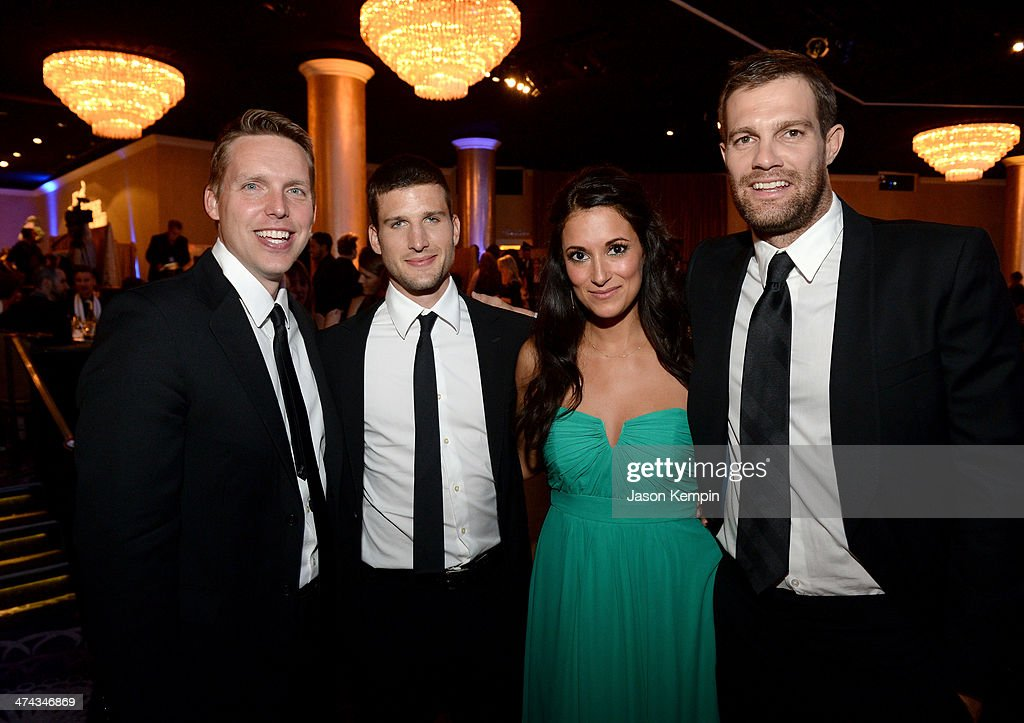 Actor Parker Young, writer/producer Kevin Biegel and actors Angelique Cabral and Geoff Stults attend the 16th Costume Designers Guild Awards with presenting sponsor Lacoste at The Beverly Hilton Hotel on February 22, 2014 in Beverly Hills, California.