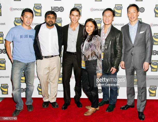 Actor Parry Shen director Sarovar Banka actors Booboo Stewart Theresa Navarro BD Wong and MSNBC anchor Richard Lui attend Asian Americans In...
