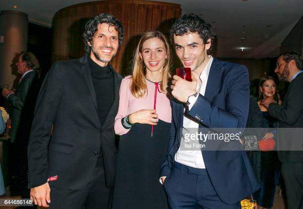 Actor Pasquale Aleardi german actress Annika Blendl and actor Nik Xhelilaj attend the Wempe store opening on February 23 2017 in Munich Germany
