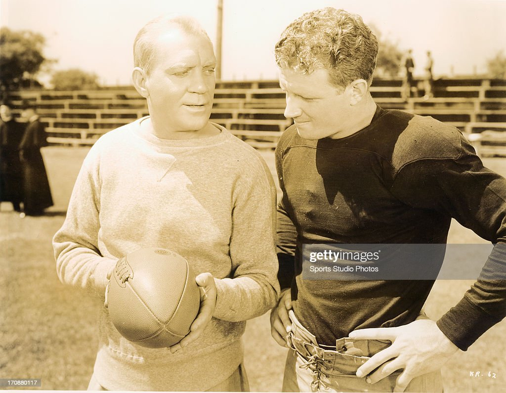 Actor Pat O'Brien and football player Jack Banta during filming of 'Knute Rockne, All American'.