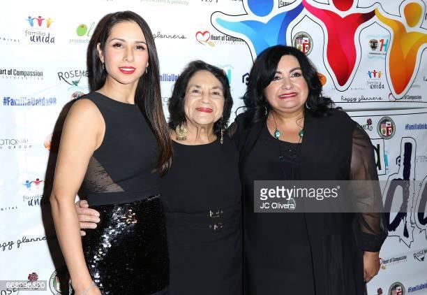 Actor Patricia Maya civil rights activist Dolores Huerta and founder executive director of Familia Unida Irma Redendez attend The Familia Unida's 4th...