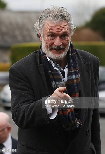 Actor Patrick Bergin arrives at the funeral of Therese MacGowan the mother of singer Shane MacGowan at Our Lady of Lourdes Church Silvermines Co...