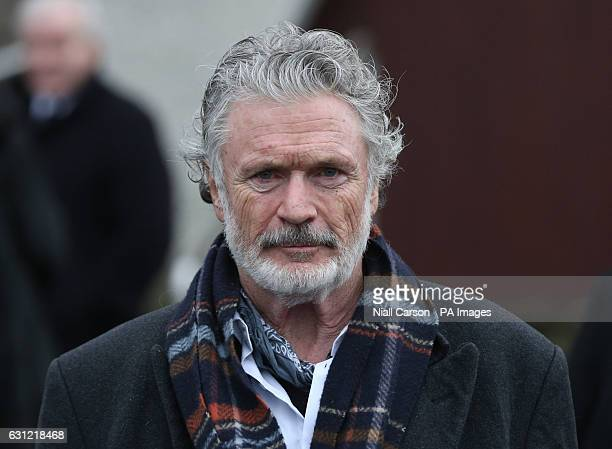 Actor Patrick Bergin leaves the funeral of Therese MacGowan the mother of singer Shane MacGowan at Our Lady of Lourdes Church Silvermines Co Tipperary