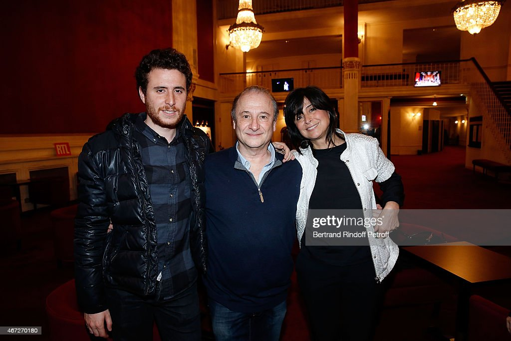 Actor Patrick Braoude his wife Guila and his son attend the last representation of ' Nos Femmes ' to the Theatre de Paris on March 22 2015 in Paris...