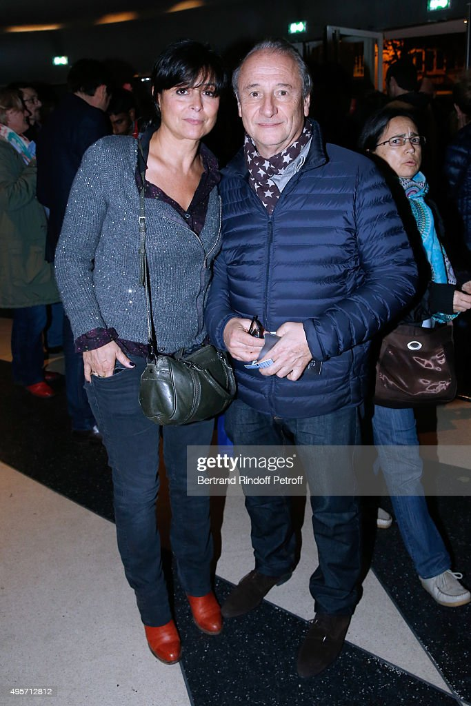 Actor Patrick Braoude his wife Guila attend Singer Arielle Dombasle performs at La Cigale on November 4 2015 in Paris France
