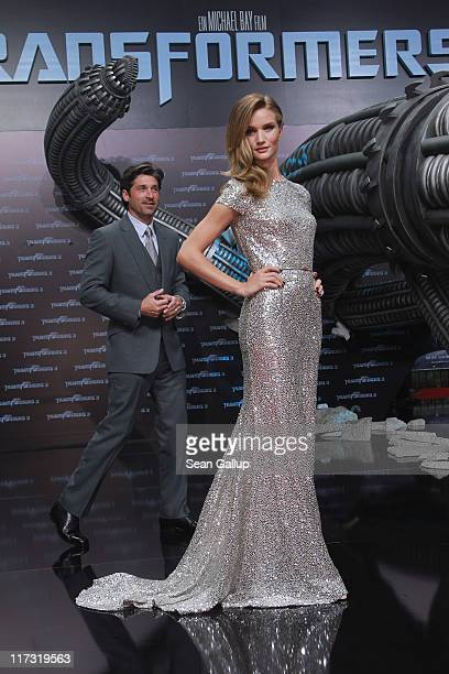 Actor Patrick Dempsey and actress Rosie HuntingtonWhiteley attend the 'Transformers 3' European premiere on June 25 2011 in Berlin Germany